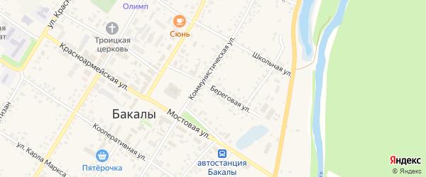 Береговая улица на карте села Бакалы Башкортостана с номерами домов