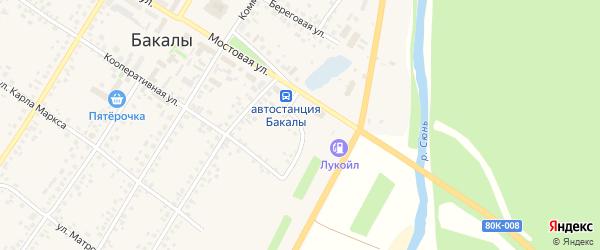 Пролетарский переулок на карте села Бакалы Башкортостана с номерами домов