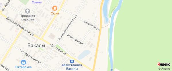 Береговой переулок на карте села Бакалы Башкортостана с номерами домов
