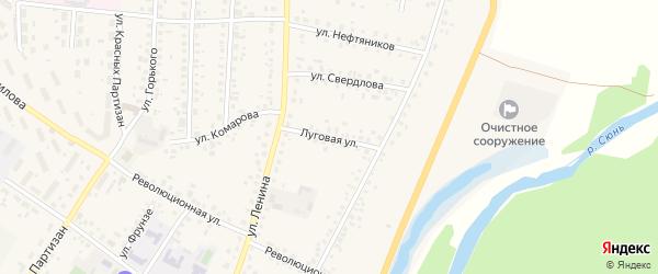 Луговая улица на карте села Бакалы Башкортостана с номерами домов