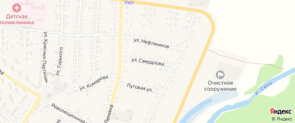 Улица Свердлова на карте села Бакалы Башкортостана с номерами домов