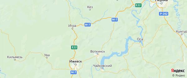 Карта Шарканского района Республики Удмуртии с городами и населенными пунктами