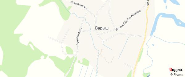 Карта деревни Варыша в Коми с улицами и номерами домов