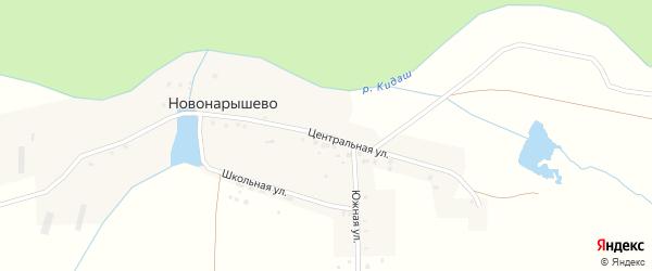Центральная улица на карте деревни Новонарышево Башкортостана с номерами домов