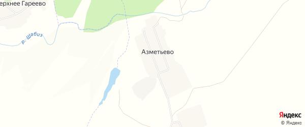Карта деревни Азметьево в Татарстане с улицами и номерами домов
