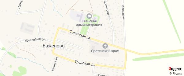 Советская улица на карте села Баженово Башкортостана с номерами домов