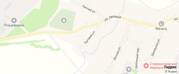 Луговая улица на карте села Старокатаево с номерами домов