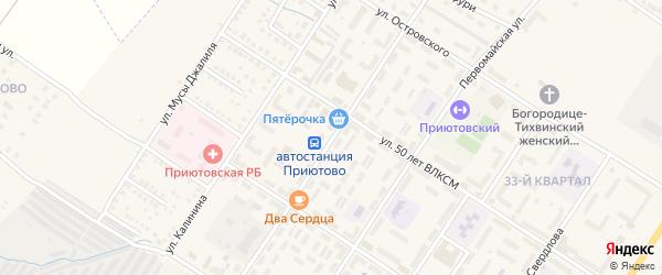 Улица Парамонова на карте поселка Приютово с номерами домов