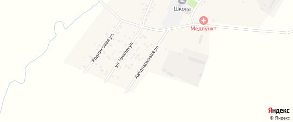 Автопарковая улица на карте села Старокатаево Башкортостана с номерами домов