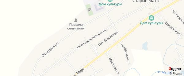 Интернациональная улица на карте села Старые Маты с номерами домов