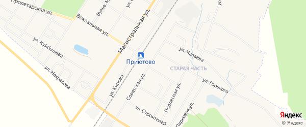 Территория СНТ Колос на карте поселка Приютово с номерами домов