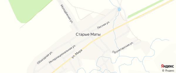Карта села Старые Маты в Башкортостане с улицами и номерами домов
