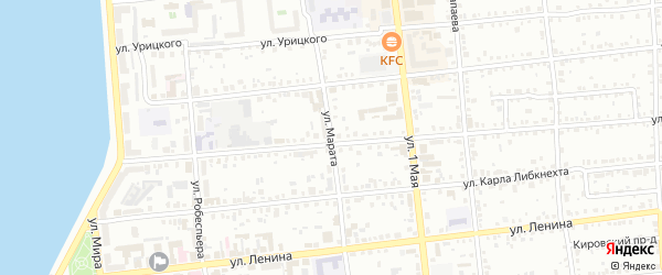 Улица Марата на карте Воткинска с номерами домов
