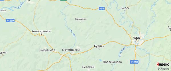 Карта Шаранского района Республики Башкортостана с городами и населенными пунктами