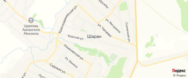 Карта села Шарана в Башкортостане с улицами и номерами домов