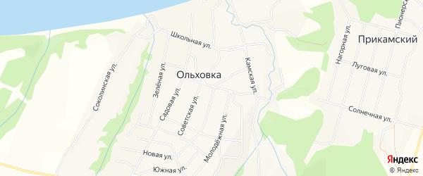 Карта села Ольховки города Чайковского в Пермском крае с улицами и номерами домов