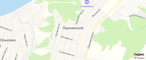 Карта Прикамского поселка города Чайковского в Пермском крае с улицами и номерами домов