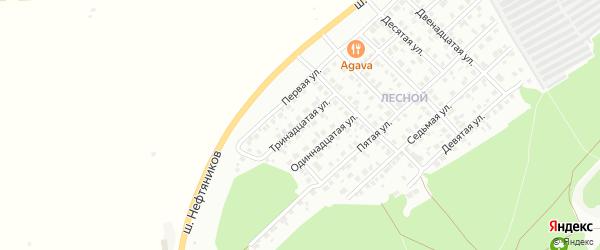 Тринадцатая улица на карте Лесной микрорайона с номерами домов