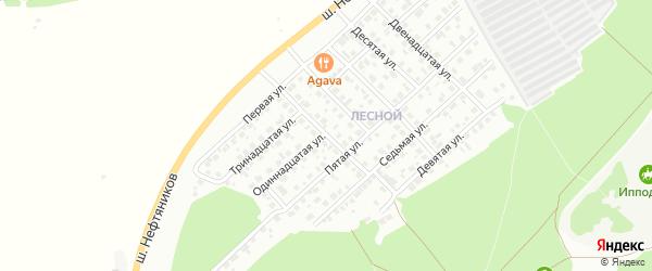 Четвертая улица на карте Лесной микрорайона с номерами домов