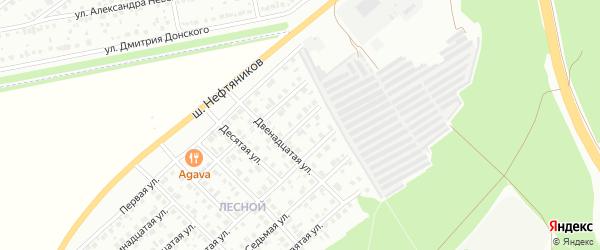 Пятнадцатая улица на карте Белебея с номерами домов