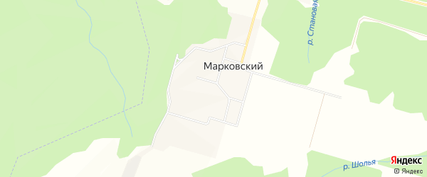 Карта Марковского поселка города Чайковского в Пермском крае с улицами и номерами домов