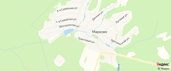 Карта деревни Марково города Чайковского в Пермском крае с улицами и номерами домов