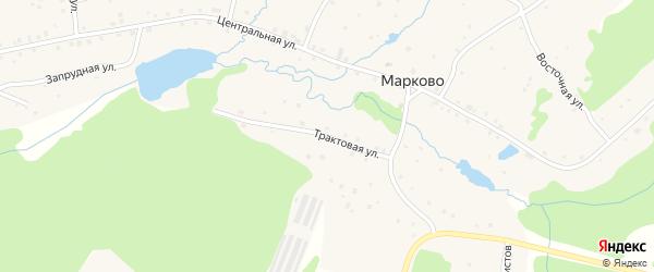 Трактовая улица на карте деревни Марково с номерами домов
