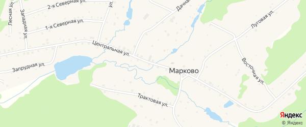 Центральная улица на карте деревни Марково с номерами домов