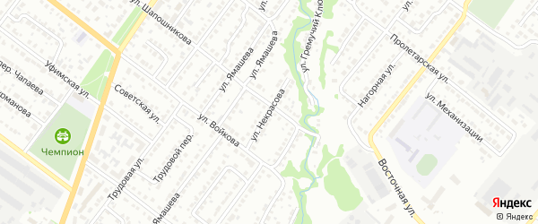 Улица Некрасова на карте Белебея с номерами домов