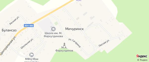 Школьный переулок на карте села Мичуринска Башкортостана с номерами домов