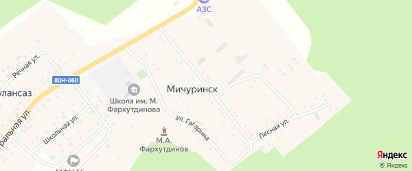 Улица Миргая Фархутдинова на карте села Мичуринска Башкортостана с номерами домов