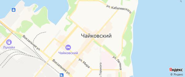 Территория верхний бьеф Воткинского водохранилища на карте Чайковского с номерами домов