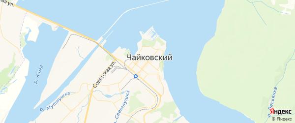 Карта Чайковского с районами, улицами и номерами домов