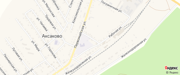 Подлесная улица на карте села Аксаково Башкортостана с номерами домов