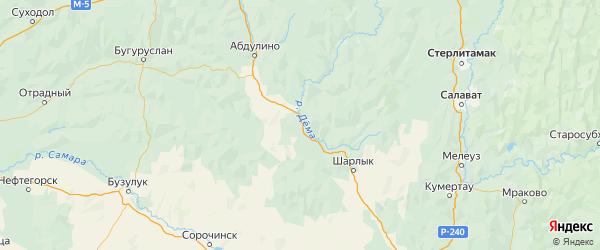Карта Пономаревского района Оренбургской области с городами и населенными пунктами