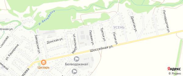 Первая улица на карте района Усень микрорайона с номерами домов