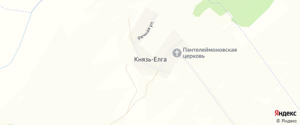 Карта деревни Князя-Елги в Башкортостане с улицами и номерами домов