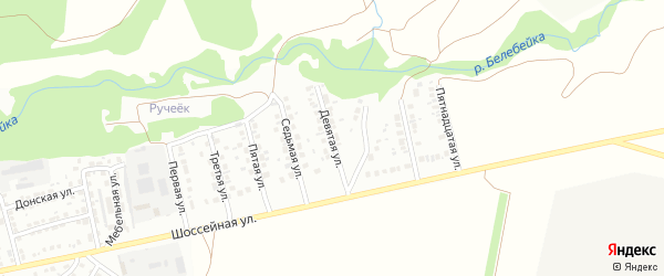 Девятая улица на карте района Усень микрорайона с номерами домов