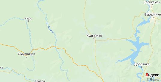 Карта Кудымкарского района Пермского края с городами и населенными пунктами