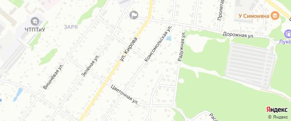 Комсомольская улица на карте поселка Буренки с номерами домов