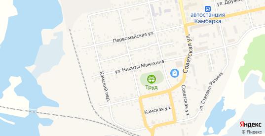 Клубный переулок в Камбарке с номерами домов на карте. Спутник и схема онлайн