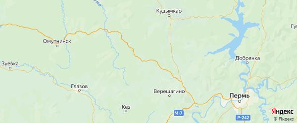 Карта Сивинского района Пермского края с городами и населенными пунктами
