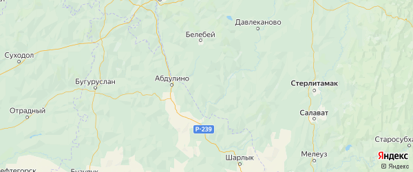 Карта Бижбулякского района Республики Башкортостана с городами и населенными пунктами