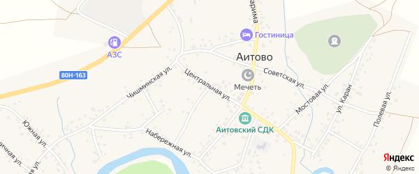 Центральная улица на карте села Аитово Башкортостана с номерами домов