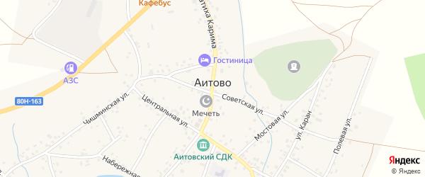 Набережный переулок на карте села Аитово Башкортостана с номерами домов