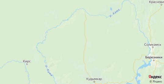 Карта Кочевского района Пермского края с городами и населенными пунктами
