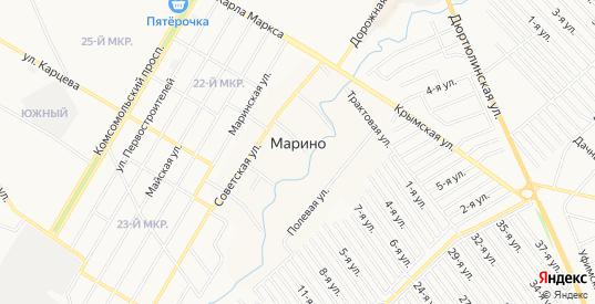 СНТ Госучреждение-2 на карте деревни Марино с номерами домов