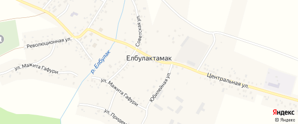 Бижбулякский переулок на карте села Елбулактамака Башкортостана с номерами домов