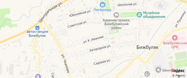 Улица Константина Иванова на карте села Бижбуляка с номерами домов