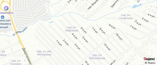 5-я улица на карте СНТ Нефтяника с номерами домов